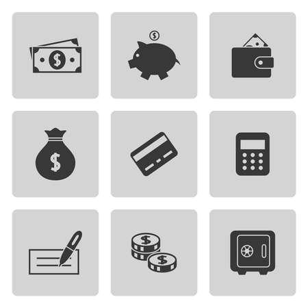 Geld pictogrammen instellen op grijs. Vector illustratie Stock Illustratie
