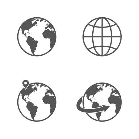 world location: Globe earth icons set isolated on white background Illustration