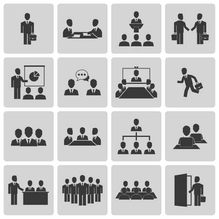 business desk: Business meeting and conference icons set. Vector illustration
