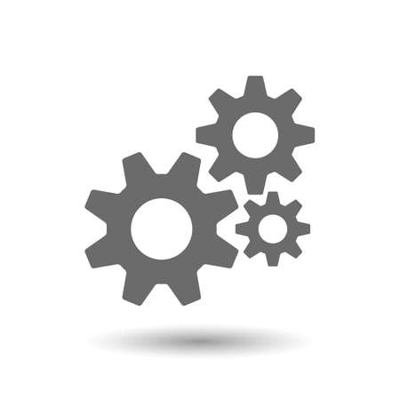 Vector illustration of gear icon isolated on white Ilustração