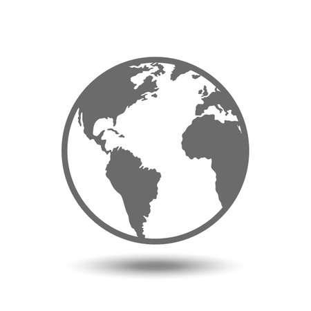 ベクトル地球儀アイコンが白い背景で隔離。