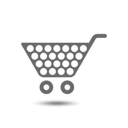e store: Vector illustration of shopping cart icon isolated on white background