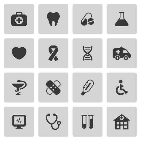 Medische en gezondheidszorg pictogrammen instellen Stock Illustratie