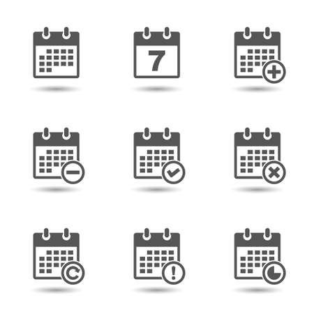 Vector kalender pictogrammen instellen Stock Illustratie