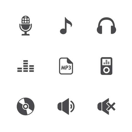 Music icons set. vector illustratie Stock Illustratie