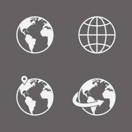 Vector globe icons set Illustration