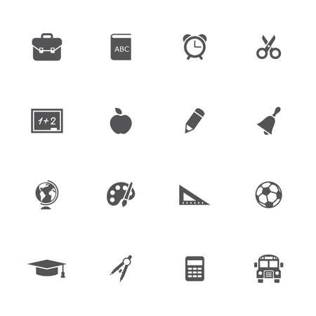 School pictogrammen ingesteld. Vector illustratie. Stock Illustratie