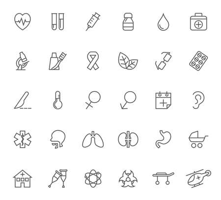 Set of medical vector icons. Contains such icons as heart pulse, thermometer, syringe, human organs and more. Illustration