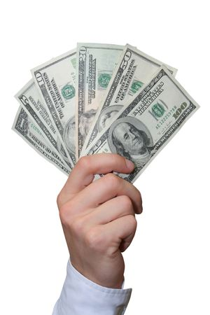 American dollars in a hand photo