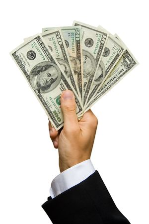 american banker: American dollars in a hand (contains clipping path)