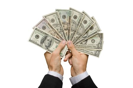 american banker: American dollars in a hands (contains clipping path) Stock Photo