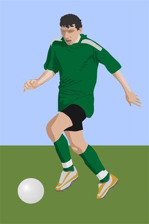 futbol soccer: run of soccer player (vector)