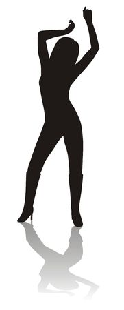 Silhouette of dancing girl with shadow Stock Photo - 657165