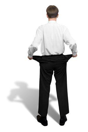 bolsillos vacios: Arruinado. Hombre de negocios con los bolsillos vac�os (con las trayectorias del truncamiento)