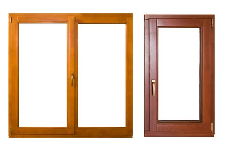 picture window: two wooden windows (with clipping path) Stock Photo