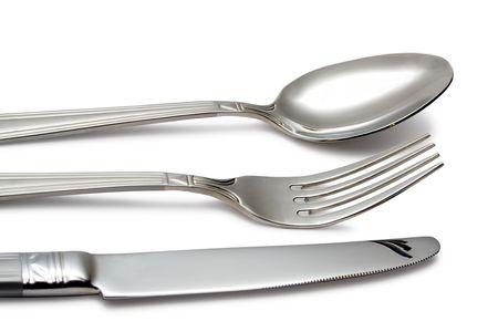 cuchillo y tenedor: cuchara, cuchillo, bifurcaci�n en blanco (contiene la trayectoria del truncamiento) Foto de archivo