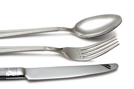 spoon, knife, fork on white (contains clipping path)
