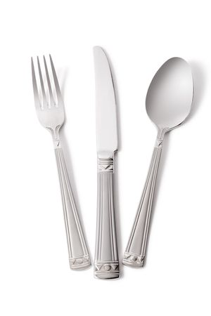 fork, knife and spoon isolated on white (contains clipping path) Stock Photo - 883750