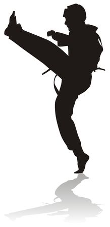 tae: silhouette of sportsman. Martial arts