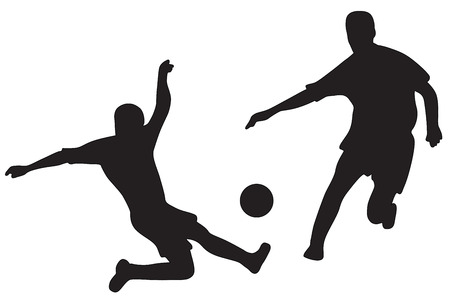Silhouettes of two soccer players with ball photo