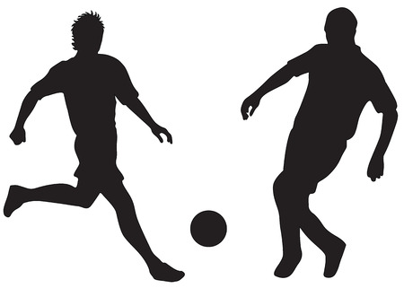 Silhouettes of two football players with ball photo