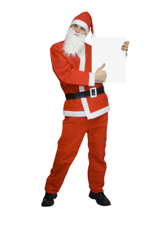 ad: santa claus with blank card isolated on white