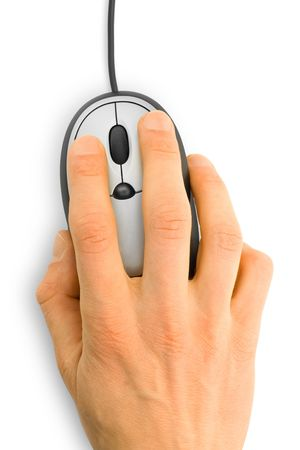 input devices: computer mouse with hand over white