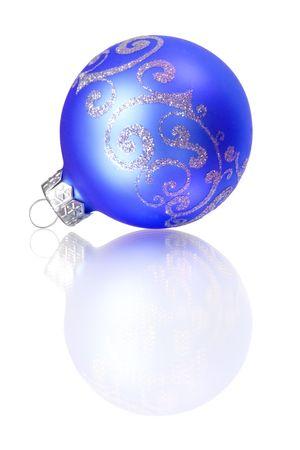 blue christmas decoration isolated on white background photo