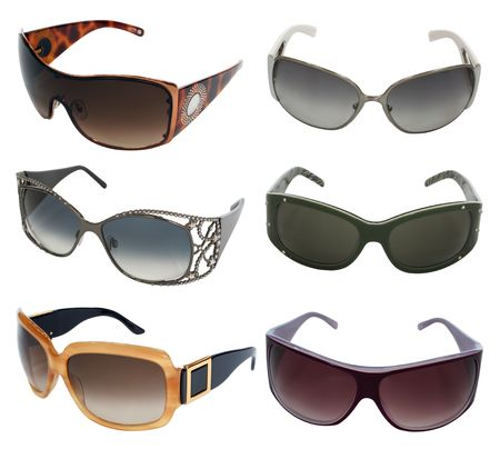 collection of sunglasses isolated on white Stock Photo