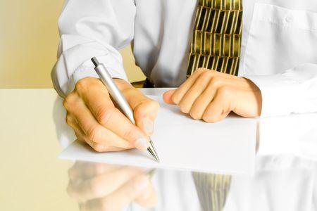 autograph: business man. hands with pen