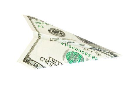 dollar plane isolated on white photo