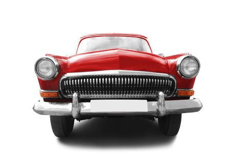 retro revival: red retro car isolated on white