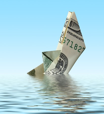 breakage: dinero naufragio del buque en el agua Foto de archivo