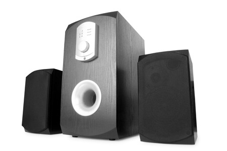music. three speakers isolated on white Stock Photo - 3987178