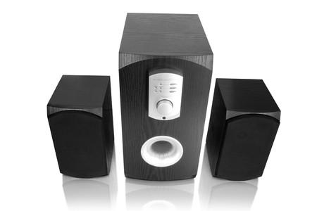 music. three speakers isolated on white Stock Photo - 4141350