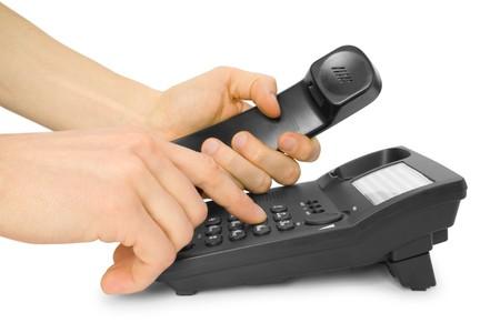 dialing: oficina con tel�fono de marcaci�n parte aisladas en blanco Foto de archivo