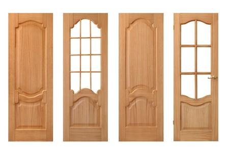 puertas de madera: conjunto de puertas de madera aisladas en blanco