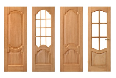 set of wooden doors isolated on white photo
