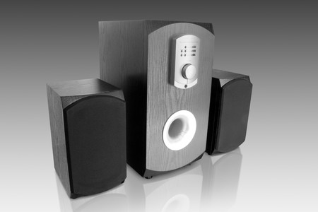 music objects. three computer speakers isolated with reflection Stock Photo - 4376127