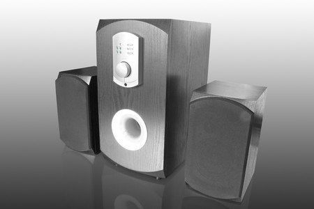 dolby: three black computer speakers with built in amplifier isolated on white with reflection Stock Photo