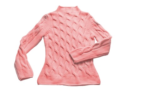 pull over: red sweater with pattern (contains path)