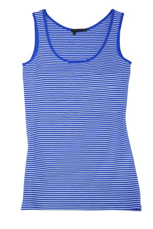 underwaist: blue sleeveless sports shirt isolated on white