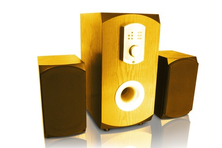 dolby: music. three speakers isolated on white background
