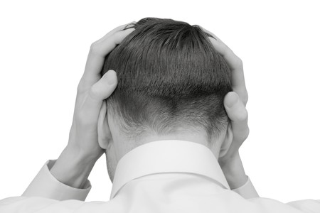 problem in man. head with hands isolated on wite photo