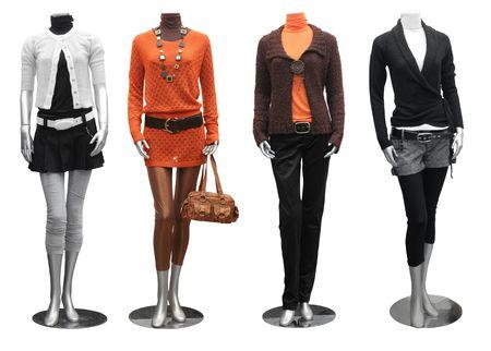 mannequin: collezione di moda, abiti su manichini isolato