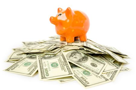 piggy bank with money isolated on white Stock Photo - 4693748