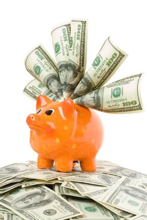 piggy bank with money isolated on white photo