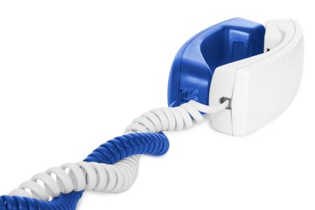 love couple of telephone handsets isolated on white photo