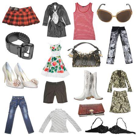 ropa casual: gran colecci�n de vestimenta de las mujeres aisladas en blanco