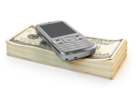 business concept. phone with money isolated on white  Stock Photo